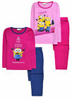 Girls Long Sleeved Minions Pyjama Set New Kids PJs Sleepwear Ages 2 - 8 Years