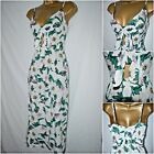 NEW DEBENHAMS SUN DRESS MIDI FLORAL WHITE IVORY GREEN PINK STRAPPY SIZE 8 - 16