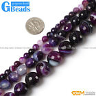 Purple Stripe Agate Onyx Gemstone Faceted Round Beads For Jewelry Making 15""