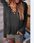 Women Fashion V-neck Long Flared Sleeve Blouse Chiffon Casual Shirt Slim Tops
