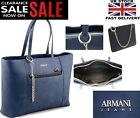 New Womens ARMANI JEANS O Blue Large Patent  Handbag 100% ORIGINAL AJ Bags Brand
