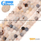 Gray Agate Gemstone Frost Matte Round Beads For Jewelry Making Free Shipping 15""