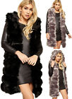 Womens Faux Fur Hooded Sleeveless Long Waistcoat Top Jacket Ladies Gillet 8-14