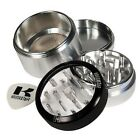 Large Silver Kannastor Clear Top 4 Part Aluminium Metal Herb & Spice Grinder