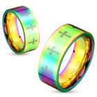 MENS WOMENS STAINLESS STEEL RAINBOW HUED CROSS PATTERN PRIDE COUPLES BAND RING