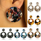 Round Acrylic Dangle Drop Earrings Geometric Ear Studs Earrings JR