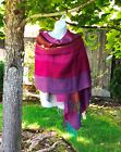 Baby Alpaca and Silk Shawl, Turquoise and Wine, NWT, Made in Peru, Free Shipping