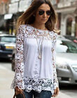 Tee Tops Women Ladies Long Sleeve Shirt Hollow out Flowers Lace Chiffon Blouse