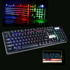 USB 104 Keys Wired Seven Colors Backlight Keyboard PC for Multimedia Gamer US