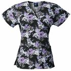 Medgear Womens Fashion Scrubs Top, Mock-Wrap with Back Ties, 2 Pockets 109P-MBLK
