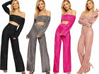 Womens Pleated Off Shoulder Long Sleeve Crop Top Palazzo Trousers Ladies Co-Ord
