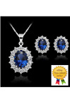 Fashion Blue Sapphire Crystal Costume Jewelry Sets Snowflake Necklace Earrings