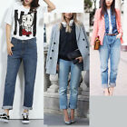 Women Denim Pants High Waist Teen Straight Jeans Loose Trousers Plus Size S-6XL