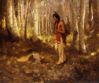 EANGER IRVING COUSE Lone Hunter BARECHESTED brave native american CANVAS/PAPER