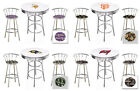 "FC133 3 PC SPORTS THEMED WHITE BAR TABLE SET W/ 2 29"" CHROME BAR STOOLS"