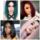 Halloween Cosplay Synthetic Ombre Wigs Mid-Long Straight Bob Black & Pink Wigs