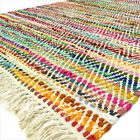 3 X 5 ft to 5 X 7 ft Decorative Colorful Woven Chindi Rag Multicolor White Rug B