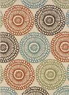Ivory Modern Dots Shapes Area Rug Circles 697J6