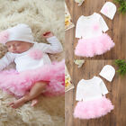 Newborn Kid Baby Girl Tops Romper Lace Tutu Skirt Dress Home Outfits Clothes Set