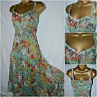 NEW PER UNA M&S SUN DRESS FLORAL GREEN ORANGE RUST METALLIC CHIFFON BOHO 8 - 22