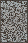Gray Swirls Curls Hoops Vines Contemporary Area Rug Floral 1845