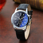 Stylish Men Boys Date Leather Stainless Steel Military Sport Quartz Wrist Watch