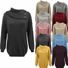 Women Ladies Knitted Polo Neck Pullover Sweater 3 Buttons Jumper Top Plus Sizes