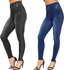 Womens Denim Print Diamante Studded Side Stretch Leggings New Ladies Jeggings