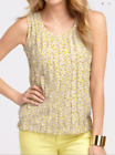 NWT Ann Taylor Watercolor Splash tiered media Blouse Shell Top Sz SP, S, M
