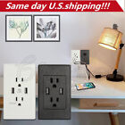 USA Dual USB Port Wall Socket Charger AC Power Receptacle Outlet Plate Panel LOT