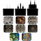 ANDI GREYSCALE KALEIDOSCOPE BLACK US CHARGER & USB CABLE FOR APPLE iPHONE PHONES