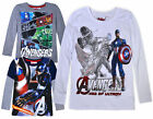 Boys New Avengers Long Sleeve Marvel Top Kids Cotton T-shirt Age 6 8 10 12 Years