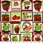 "FABRI-QUILT ""FRESH HARVEST"" 1122868 FRUIT LABELS PATCHES FABRIC- SELECT SIZE"