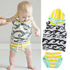 Infant Baby Kid Boy Tracksuit Hooded Tops Shirt+Shorts Pants Outfit Clothes 2PCS