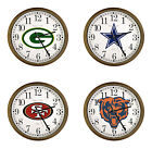 FC391 NFL TEAM THEME LOGO 15 ROUND WALL CLOCK CAPPUCCINO ESPRESSO FINISH FRAME