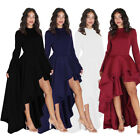 Sexy Womens Long Sleeve High Low Peplum Dress Bodycon Casual Party Club Dresses