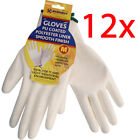 12 PAIRS NYLON WHITE WORK GLOVES PU COATED BUILDERS MECHANIC CONSTRUCTION GRIP