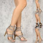 Sexy Studded High Heel Open Toe Faux Leather Stilettos Fashion Sandals Gladiator