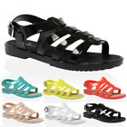 New Womens Buckle Strappy Cut Out Flats Jellies Sandals Shoes UK Size 3-8