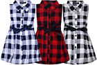 Girls New Checked Sleeveless Skater Dress Kids Check Button Dresses Age 3-14 Yrs