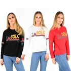 "New Women's Ladies Slogan ""SOLO TOKYO"" Print on Front Cotton Sweat-Shirts Top"