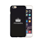 HAIRYWORM PERSONALISED SMALL WHITE CROWN NAME ON BLACK SILICONE GEL PHONE CASE