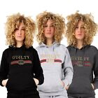 "New Women's Ladies Long sleeves Slogan ""GUILTY"" Pull Over Hoodie Top UK S-5XL"