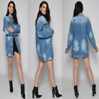 New Ladies Women's PEARL Long-line Denim Jacket Coat Top UK 8-14