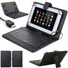 "For 7"" 8"" 10"" 10.1"" Tablets Protective PU Leather Case W/ USB Keyboard Cover PL"