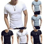 New Mens' Solid Slim T Shirts Casual 100% Cotton T-Shirts Summer Skateboard Tee