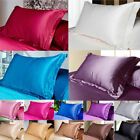 9 Kinds Solid Queen/Standard Silk~y Satin Pillow Case Bedding Pillowcase Smooth