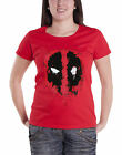 Marvel T Shirt Deadpool Splat Face new Official Womens Brick Red Skinny Fit