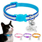 Reflective Nylon Safety Personalized Cat Collar Breakaway Engraved Kitten Name