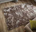SILKY SOFT THICK PILE BEIGE MINK SHAGGY PLUSH CRUSHED VELVET EFFECT SERENITY RUG